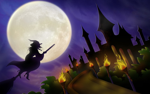 Halloween Wallpapers Witch Broomstick