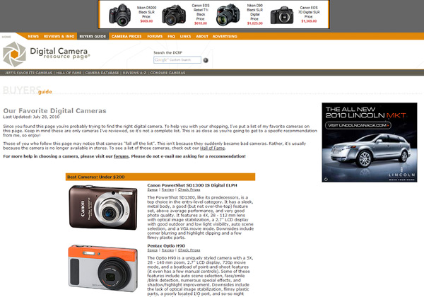 Digital Camera Resource Buyers Guide