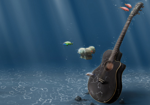 Underwater Guitar 3D Wallpaper