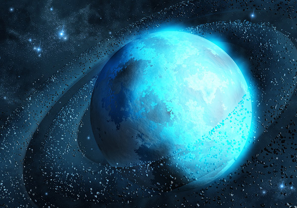In Blue Space 3D Wallpaper