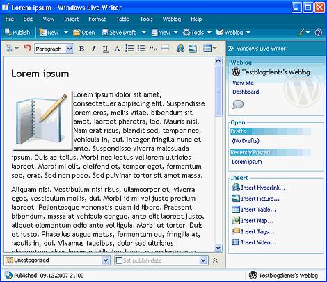 blog client windows live writer