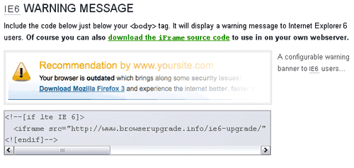 ie6 warning message