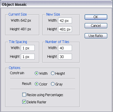 Mosaic filter settings
