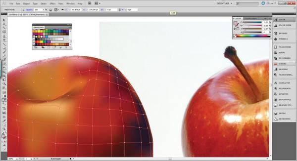 AI Gradient Mesh Tutorial Apple Step 23