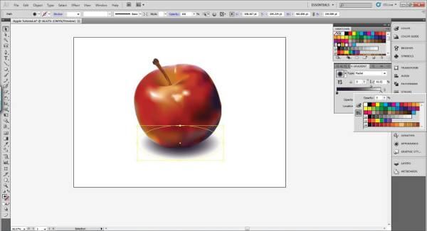 AI Gradient Mesh Tutorial Apple Step 37